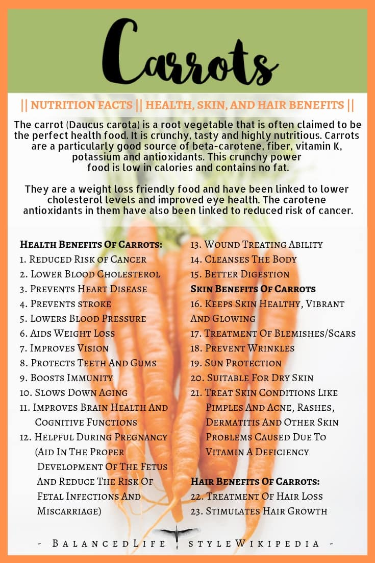 Carrots: Nutrition Facts and Health, Skin, And Hair Benefits